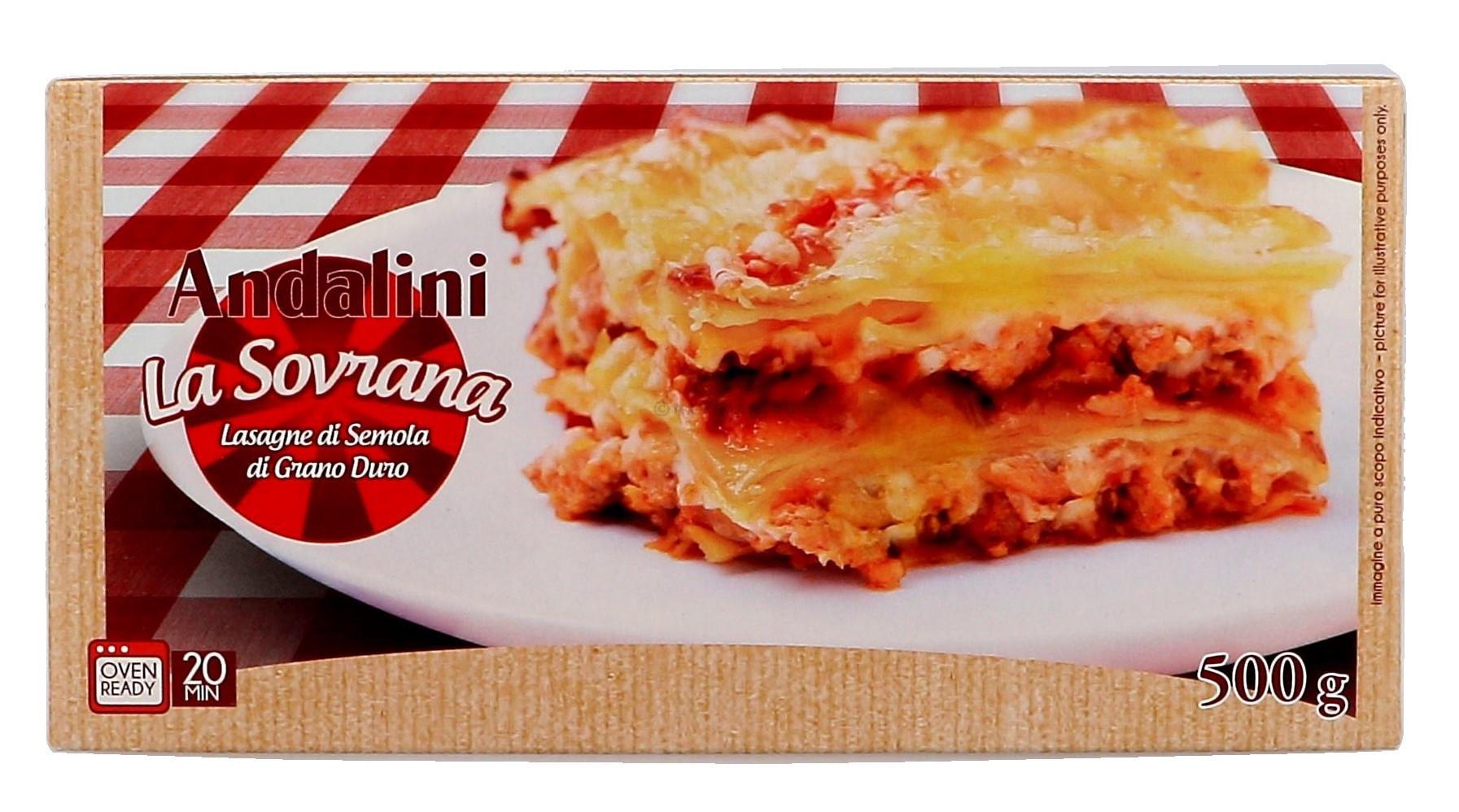 Andalini lasagnebladen naturel 500gr all'uovo (Lasagnebladen)