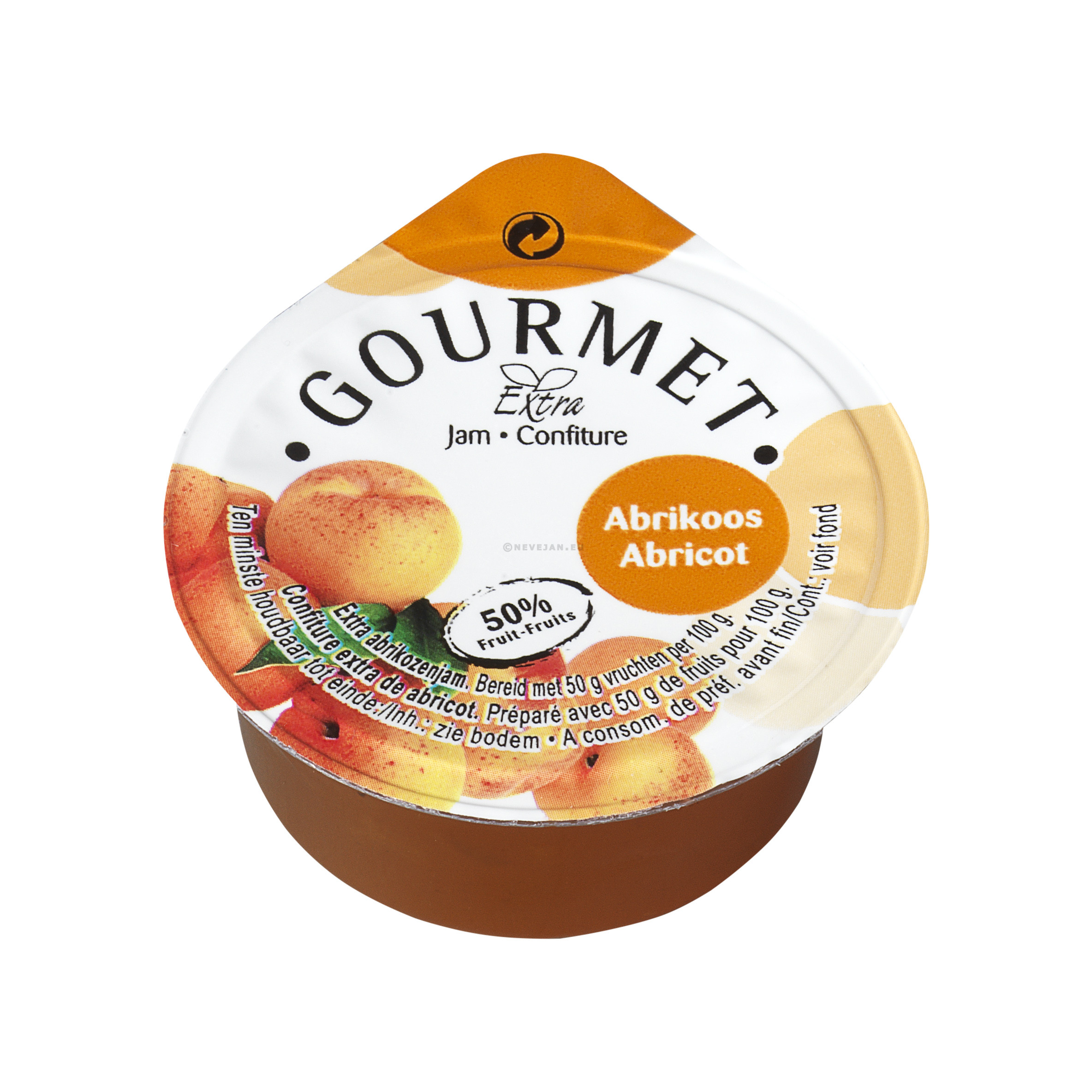 Confituur Porties abrikozen 50%fruit cups 25gr Gourmet