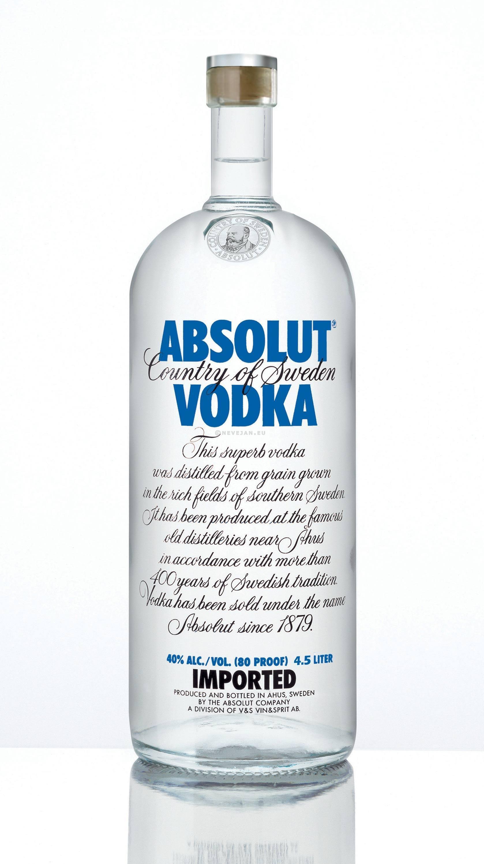 vodka absolut blue 4 5 liter 40 online kopen nevejan. Black Bedroom Furniture Sets. Home Design Ideas