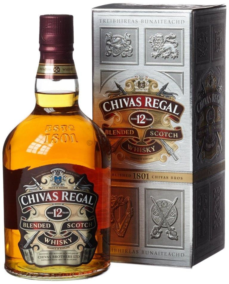 Chivas regal whisky 1l 40% 12 years + etui