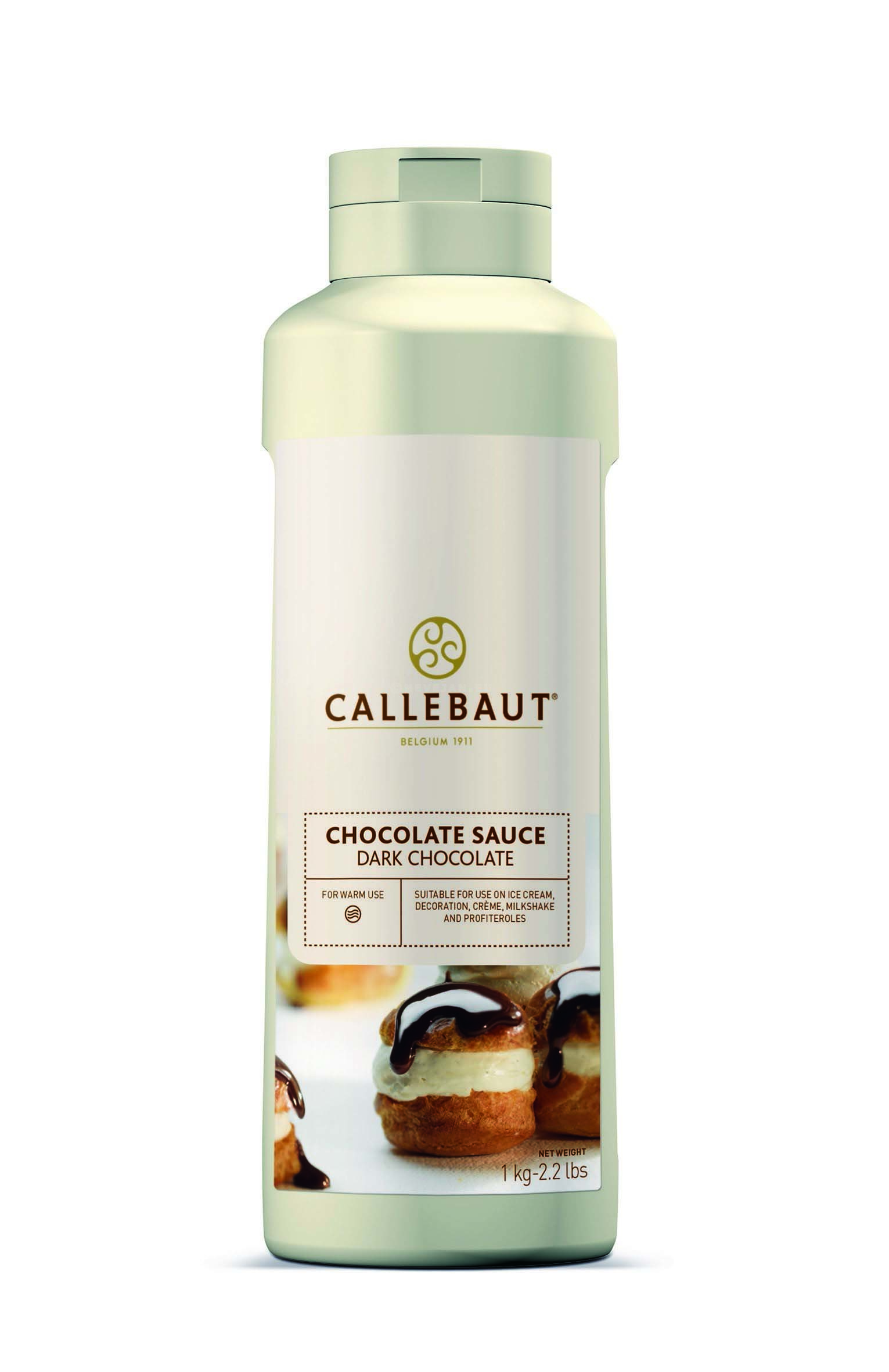 Topping donkere chocolade 1L Callebaut knijpfles