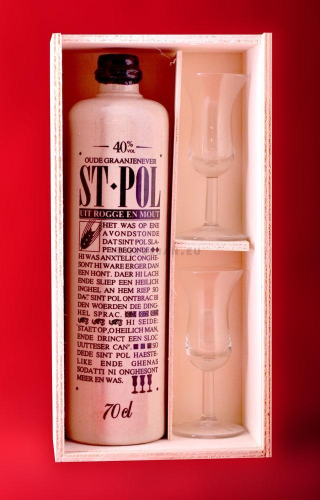 Jenever St.Pol 70cl 40% stenen kruik - kist + 2 glazen