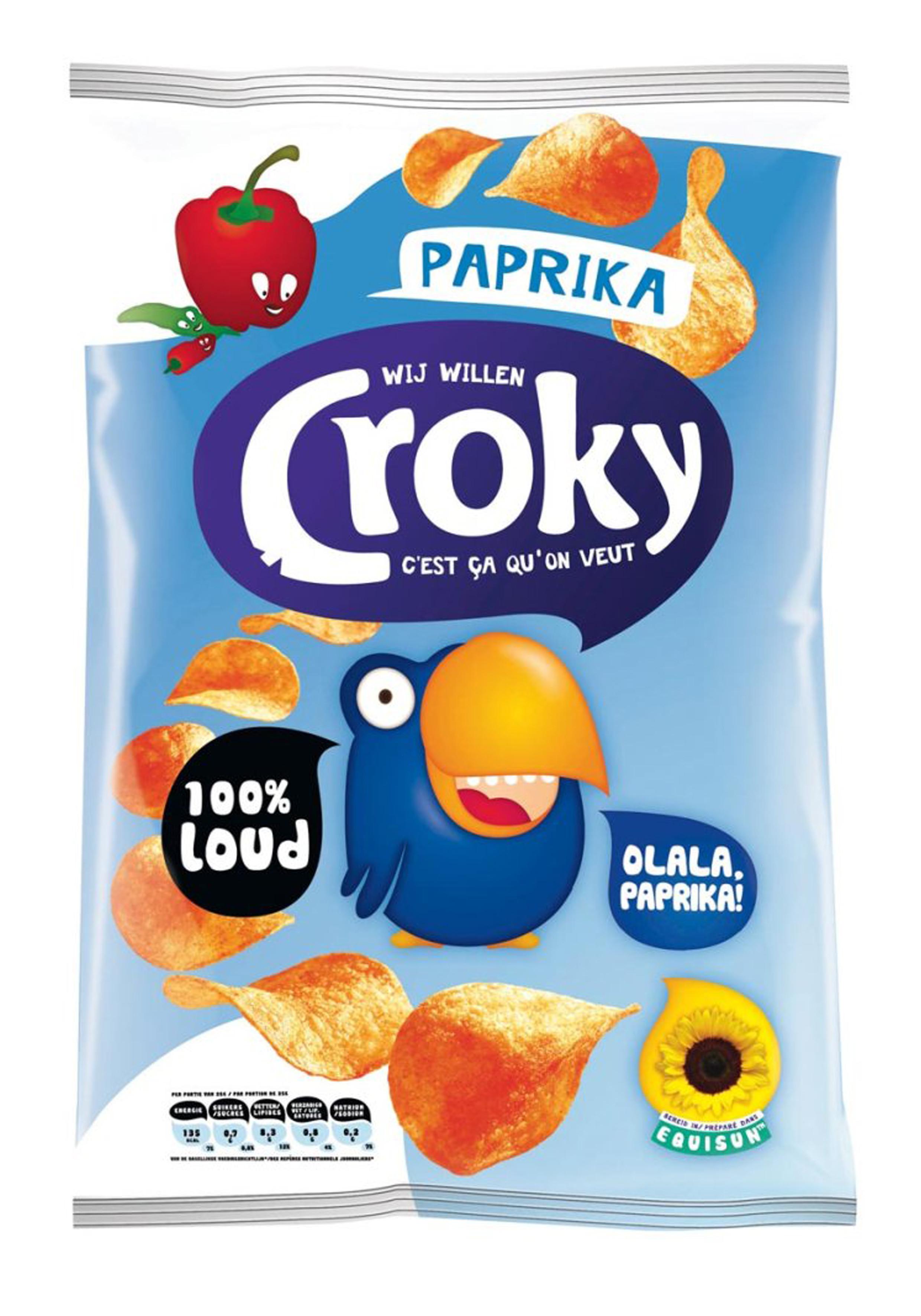 Croky Chips regular Paprika 20x45gr (Koek - snoep - chips - nootjes)