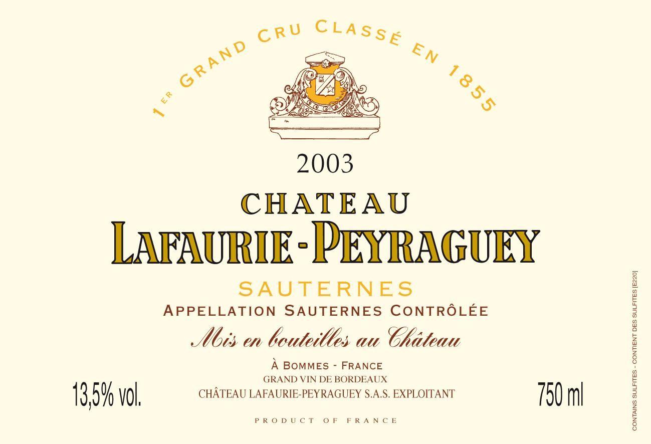 Chateau Lafaurie-Peyraguey 75cl 2003 Sauternes 1° Cru Classé