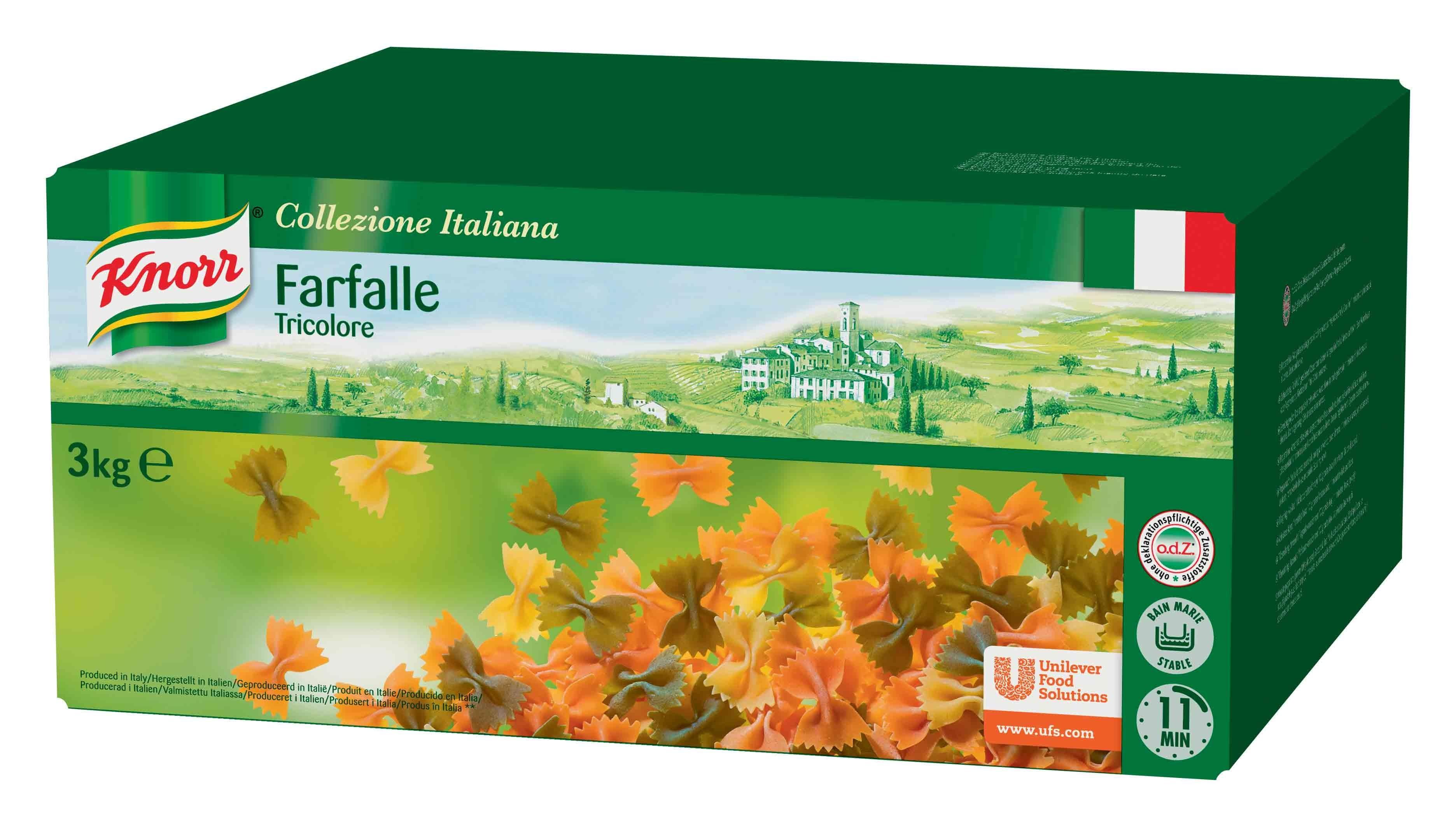 Knorr Farfalle (strikjes) tricolore 3kg Collezione
