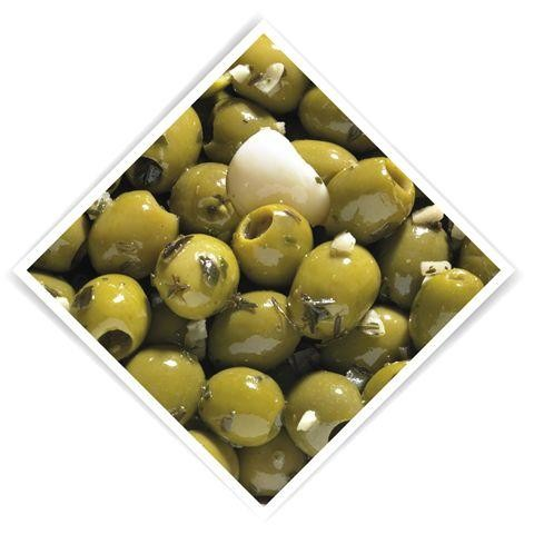 Groene olijven ontpit op knoflook 4kg 5l emmer notekraker