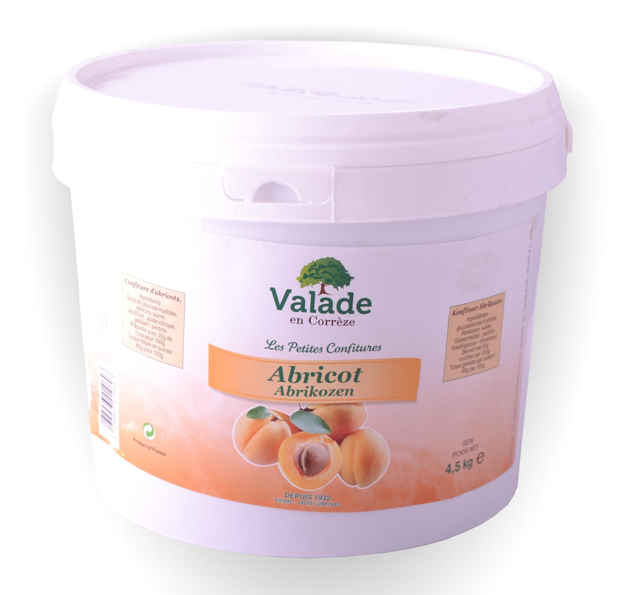 Abrikozen confituur 4.5kg Valade