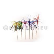 Palmboom metallic op prikker 15cm 100st 40024 Sier Disposables