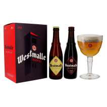 Westmalle 2x33cl (1x Dubbel & 1x Trippel) + 1 Glas in Geschenkverpakking (Bier)