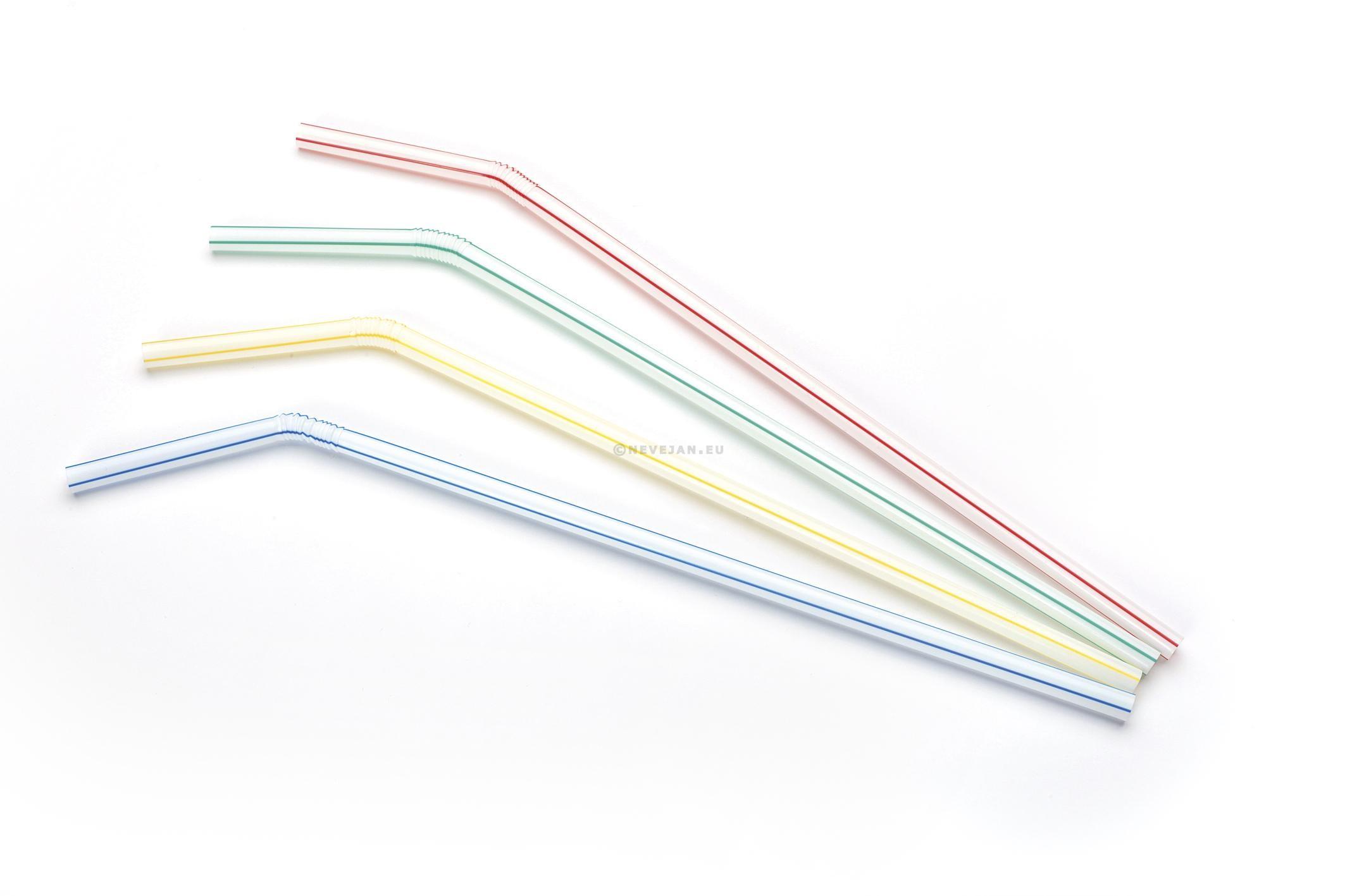 Pailles blanches rayées pliables 24cm 250pc