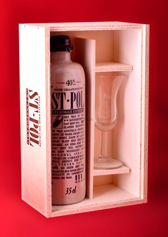 St.Pol 35cl 40% cruchon noir - caisse + 1verre