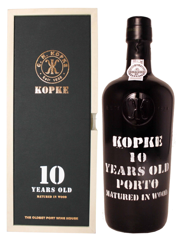 vin de porto kopke 10 ans 75cl caisse bois - nevejan