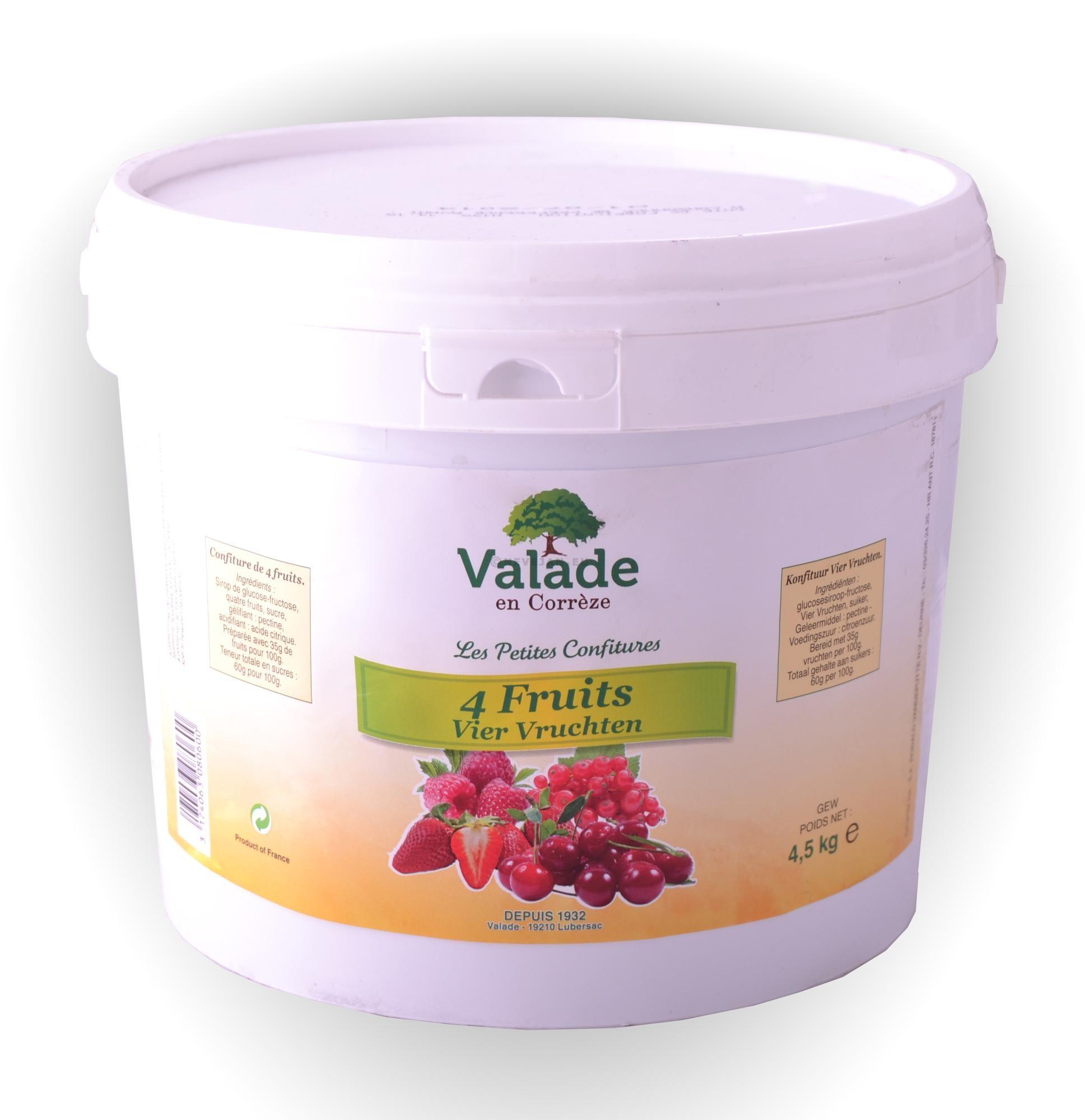 Confiture de quatre fruits 5kg Valade