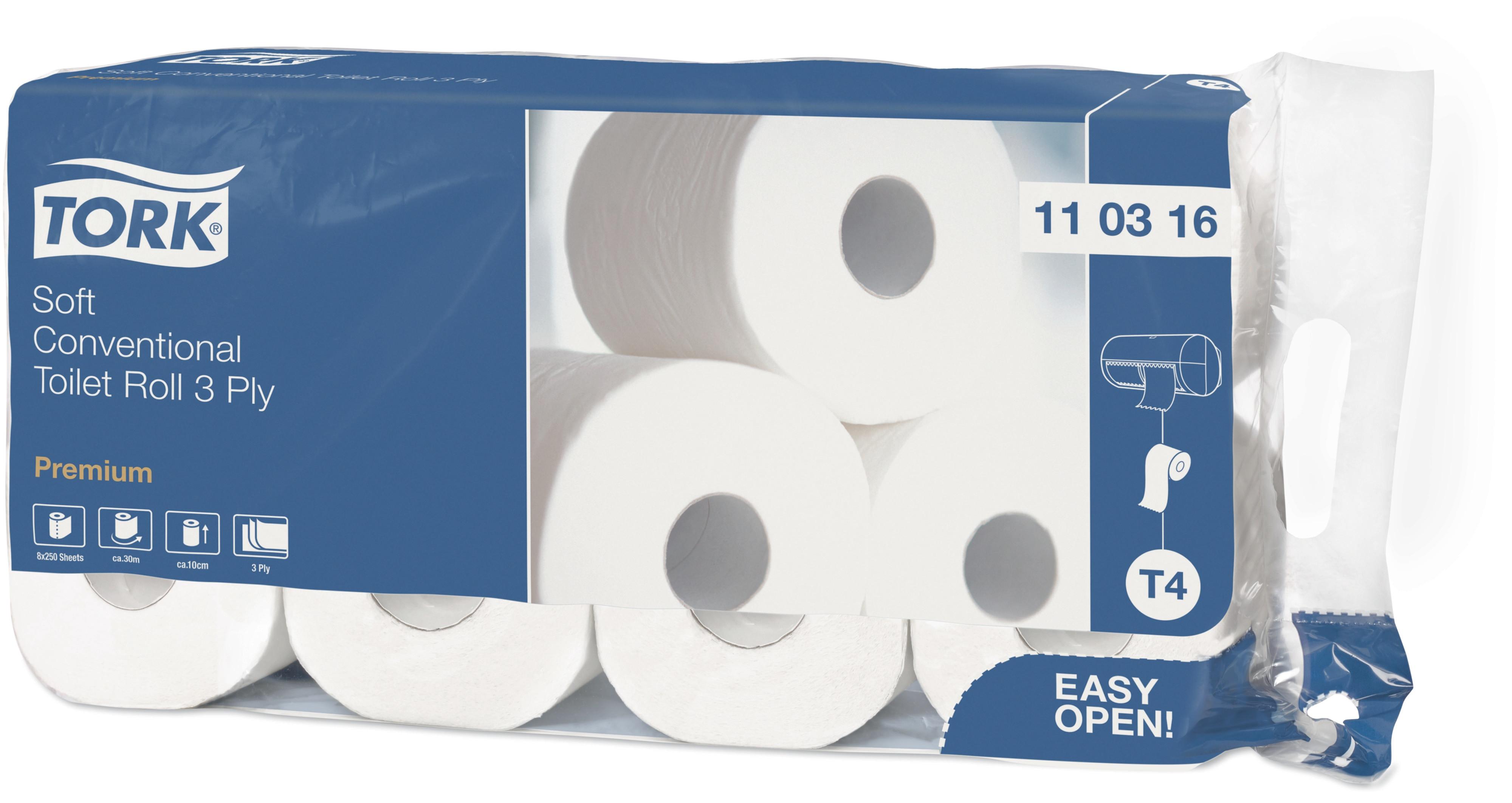 TORK Papier toilette blanc 3épais  9x8 rouleaux 110316