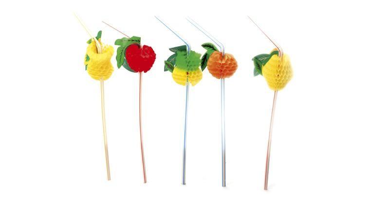 Eventail de fruit sur paille flexible 24cm 150pc Sier Disposables