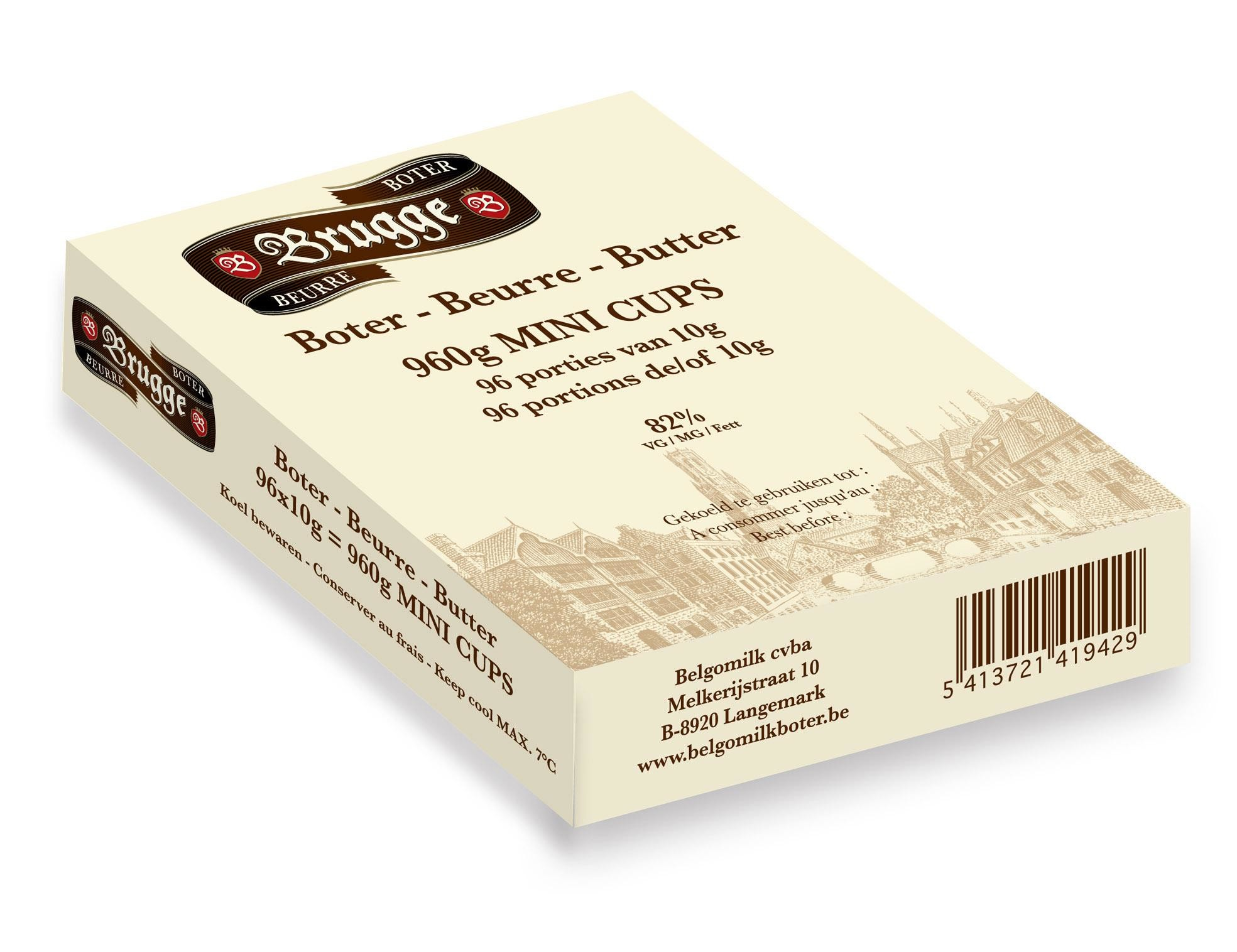 Portions beurre en coupelles 10gr 100pc Brugge