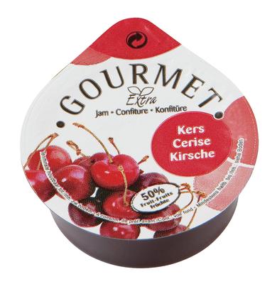 Portions Confiture cerises 50% fruit en coupelles 100x25gr Gourmet