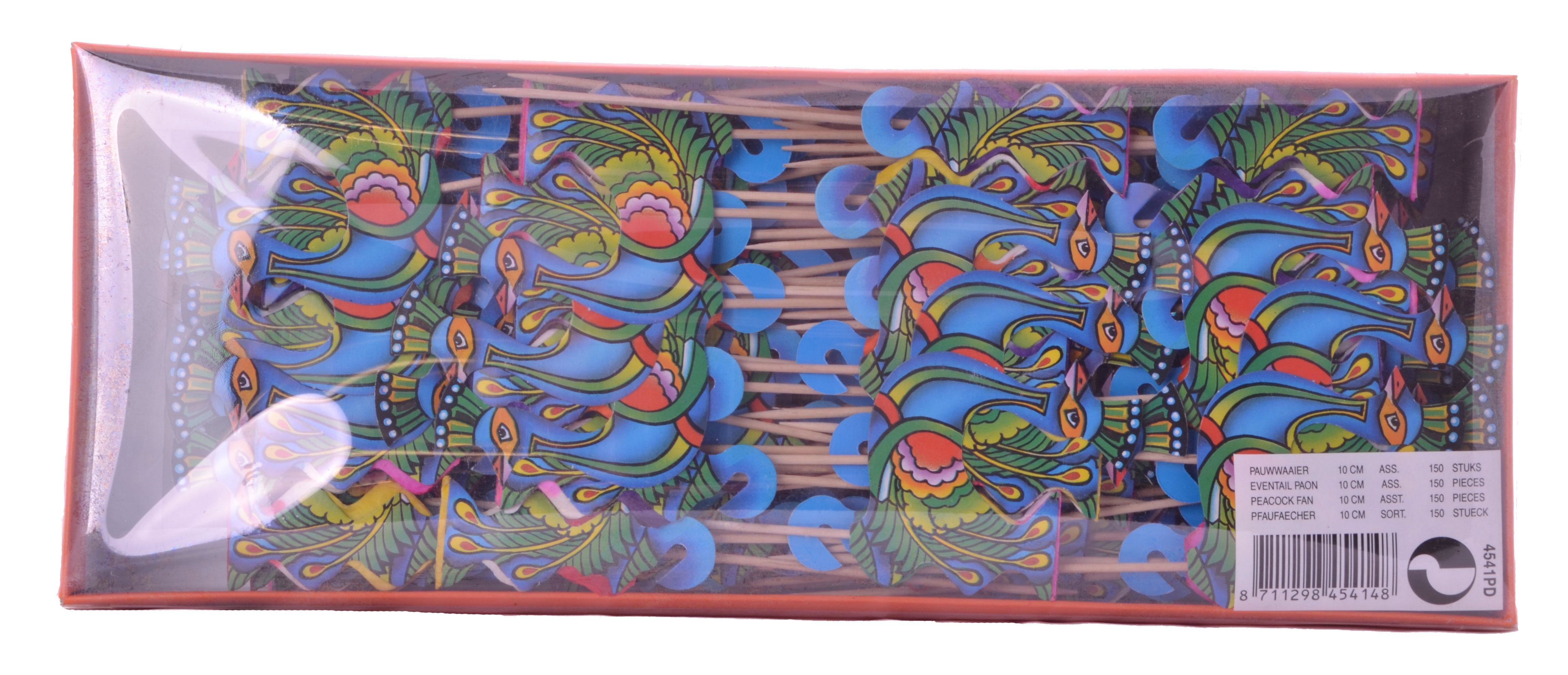 Eventail Paon en Papier sur pique 10cm 150pc 4541PD