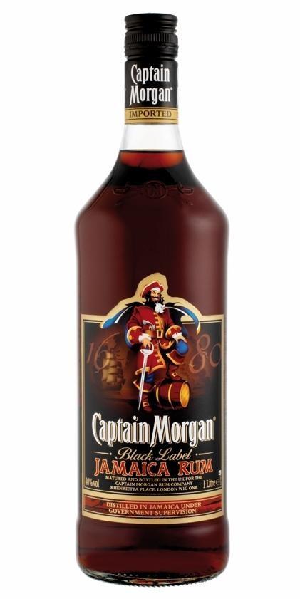 Rhum Captain Morgan Black Label 1L 40% Jamaica