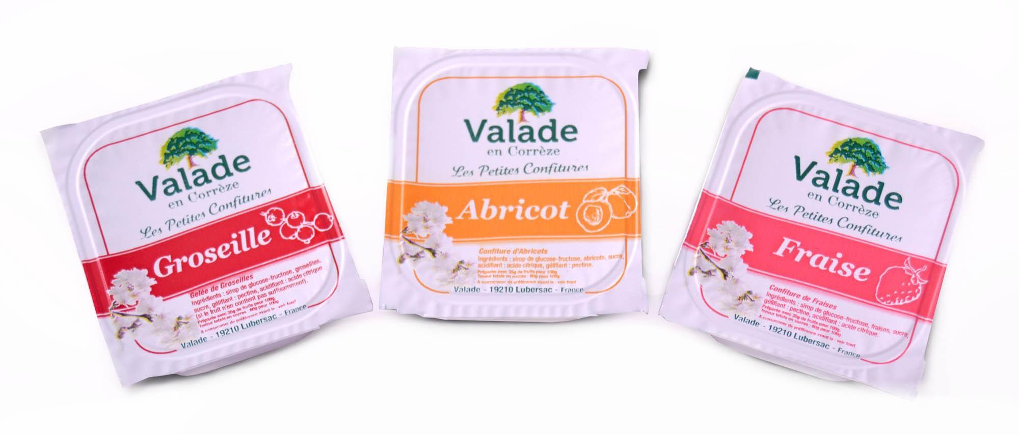 Valade portions individuelles confiture assortiment 180x20gr 35% fruits