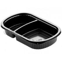 Duni Barquette Repas Alimentaire 2 compartiment 500/250ml Noir PP 240x150x40mm 50pc