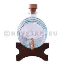 Fut en verre pour porto / vin  1.8L + support bois