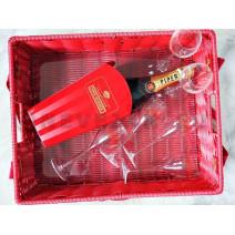 Champagne Piper Heidsieck 75cl Brut Usheret Mand + 6 glazen in geschenkverpakking