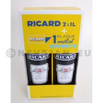 Ricard 2 x 1L + Metaalplaat in Geschenkdoos