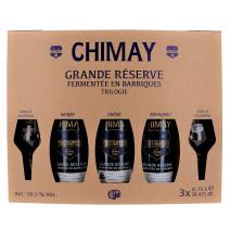 Bière Chimay Trilogie 3x75 cl + 2 verre + Cofftret Cadeau