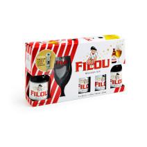 Bière Filou Blonde 4x33cl + Verre emballage cadeau