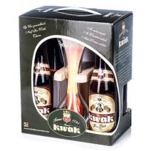 Kwak 4x33cl + glas met houten voet + geschenkverpakking