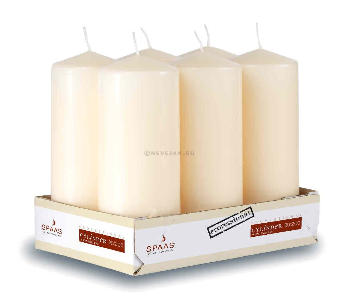 Spaas Pillar Candles ivory 80x200 mm 100h 6pcs