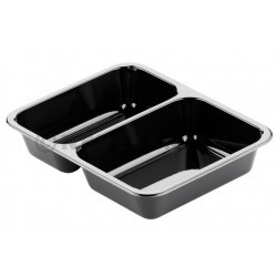 Duni CPET meal box 2 compartment 225x175x43 black 655/455ml 300pcs 115505
