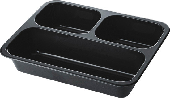 Duni CPET meal box 3 compartment 225x175x43 black 300pcs 147599