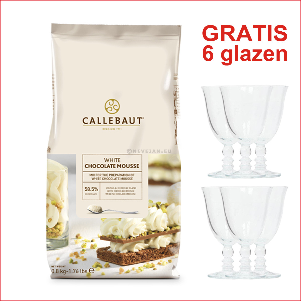 Callebaut mix for white chocolate mousse 800gr (Chocolade)