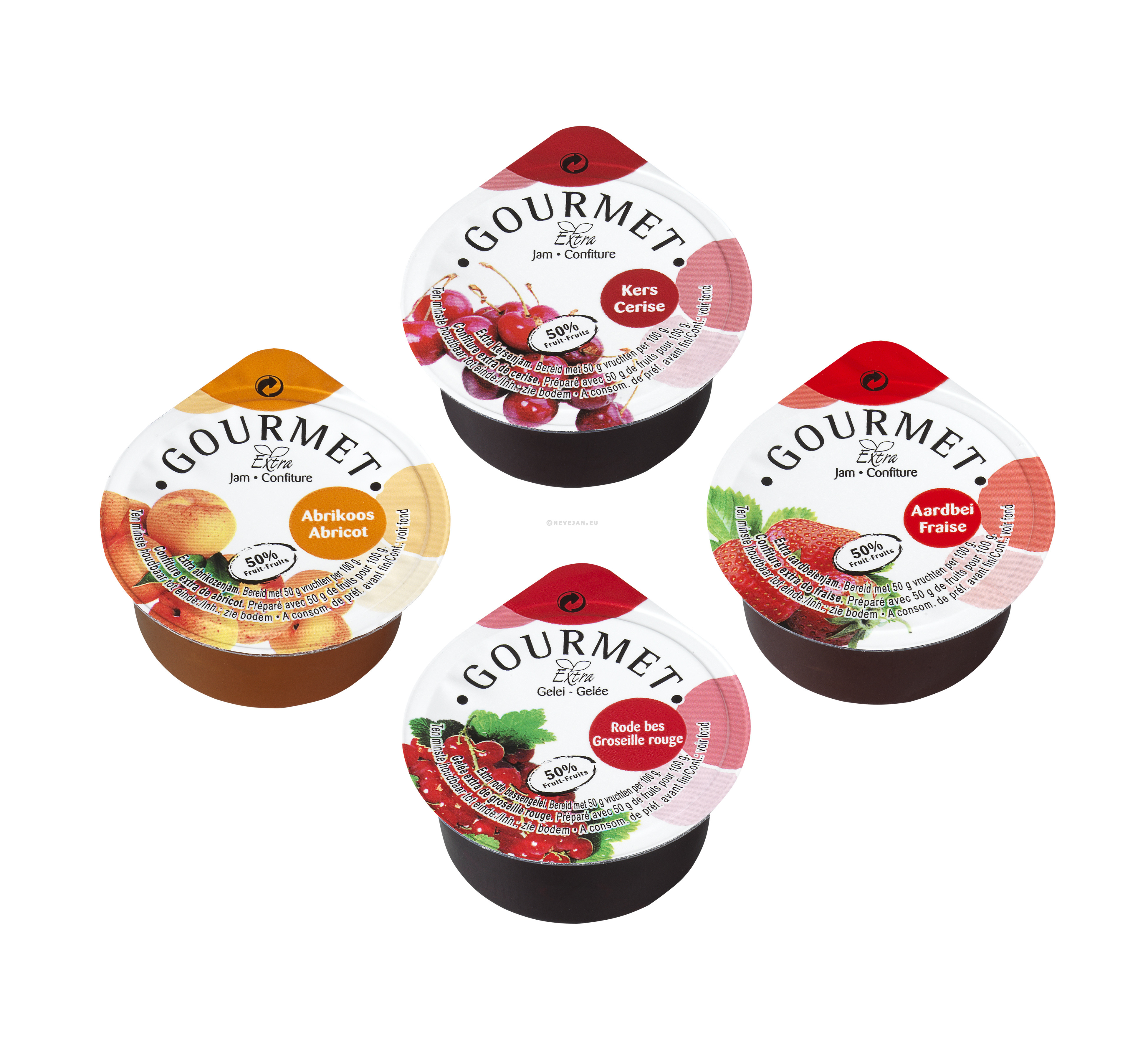 Individual Jam portions cups assorted 50% 100x25gr Gourmet