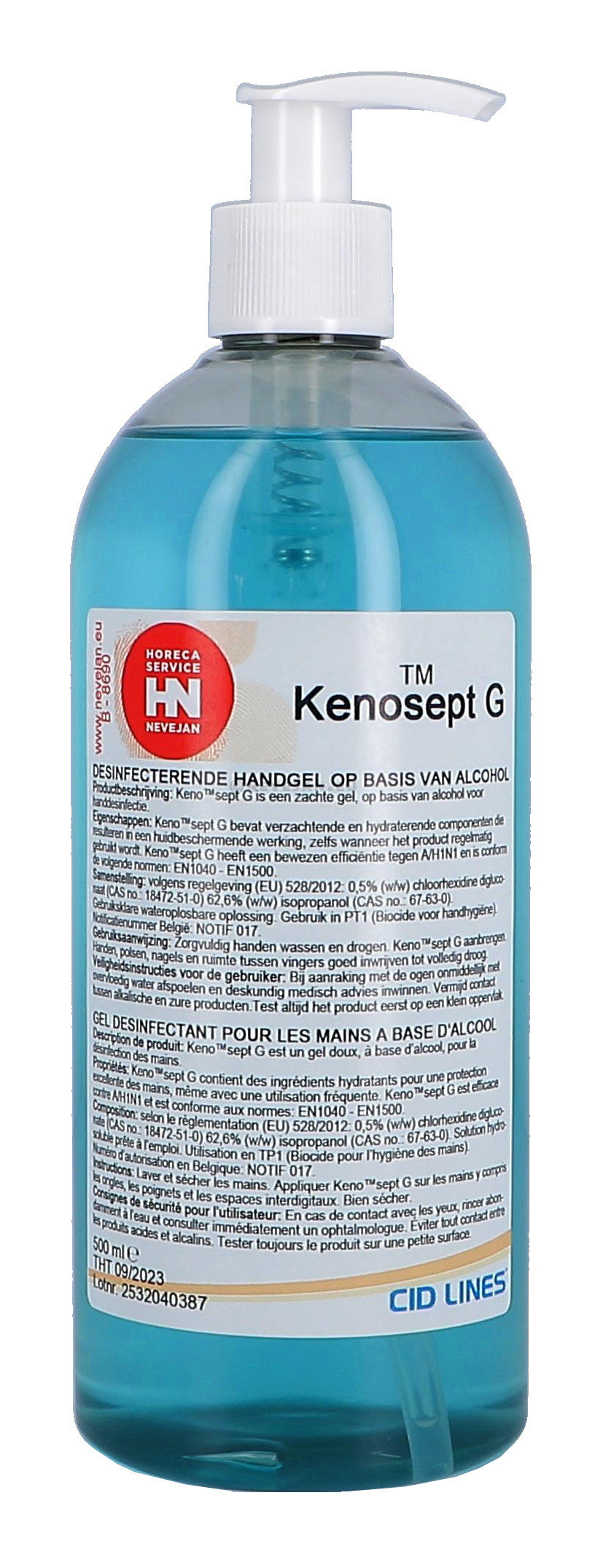 Kenosept-G 500ml alcoholic gel for handhygiene Cid Lines (Hygiëneproducten)