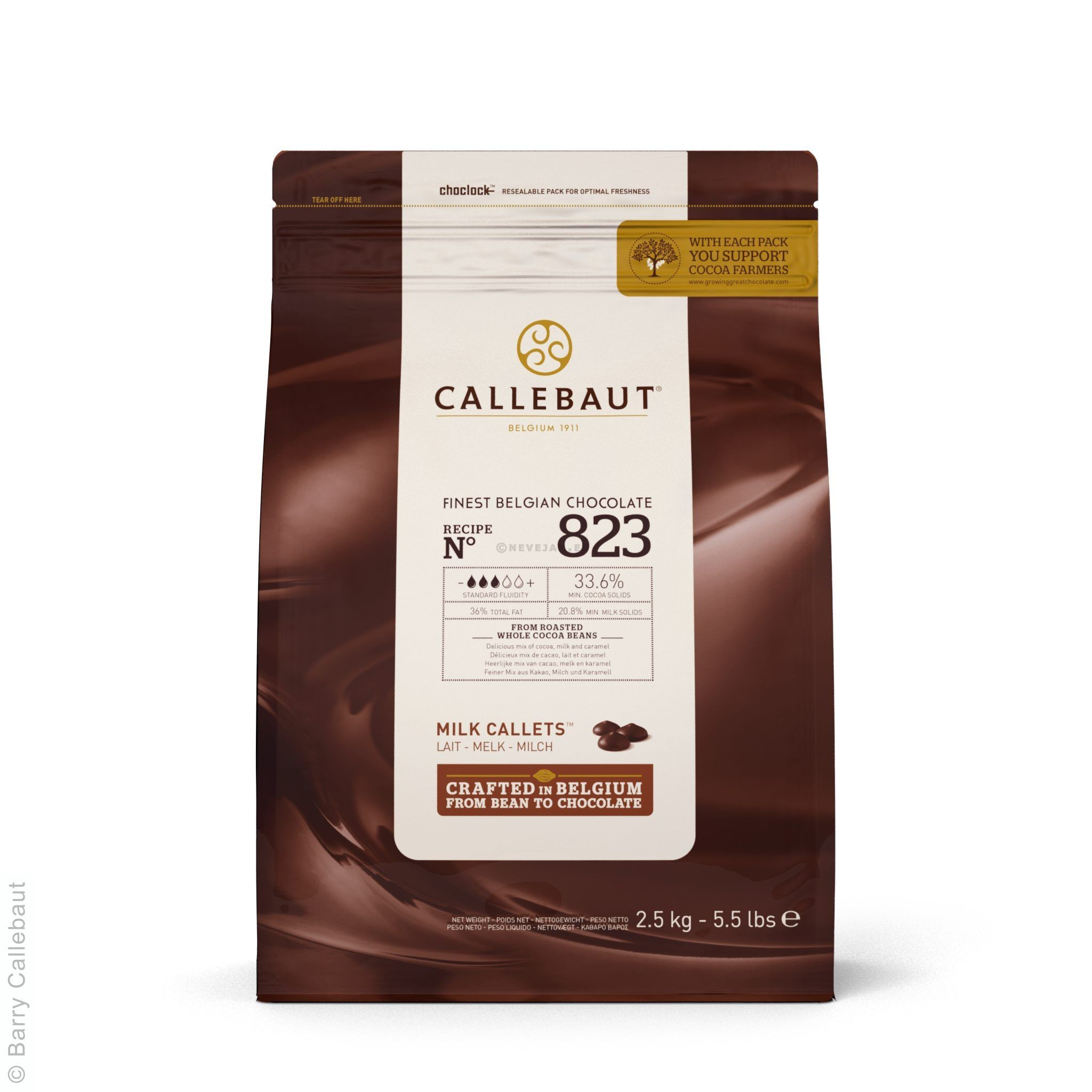 Barry Callebaut Chocolate callets C823 milk 2.5kg 5.5lbs