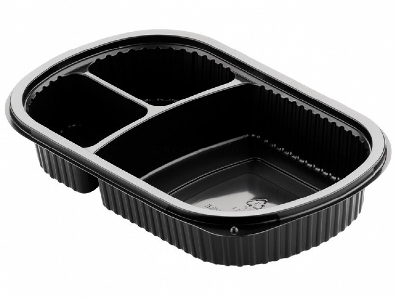 Duni Meal Box 3 compartments 500ml/2x110ml Black PP 240x150x40mm 50pcs