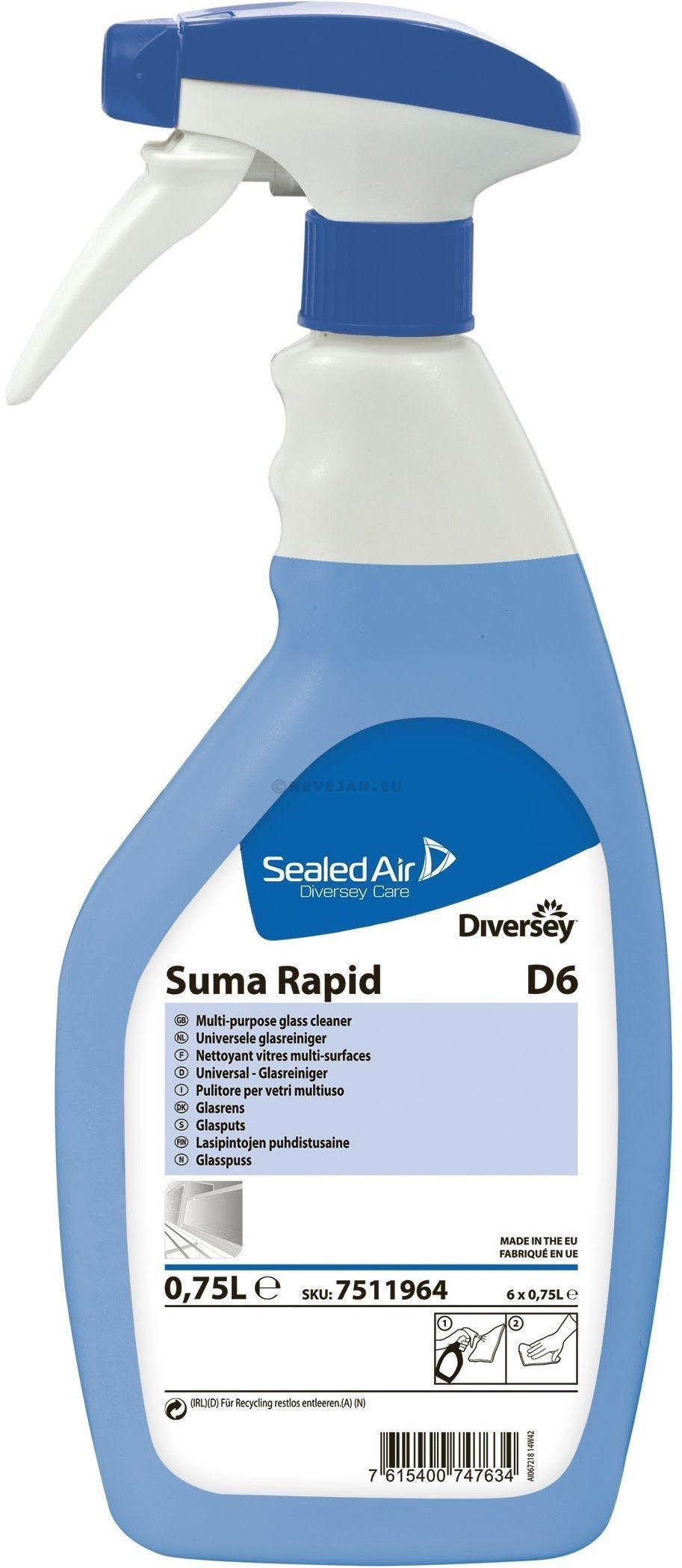 Suma Rapid D6 universele glasreiniger 750ml Diversey Sealed Air