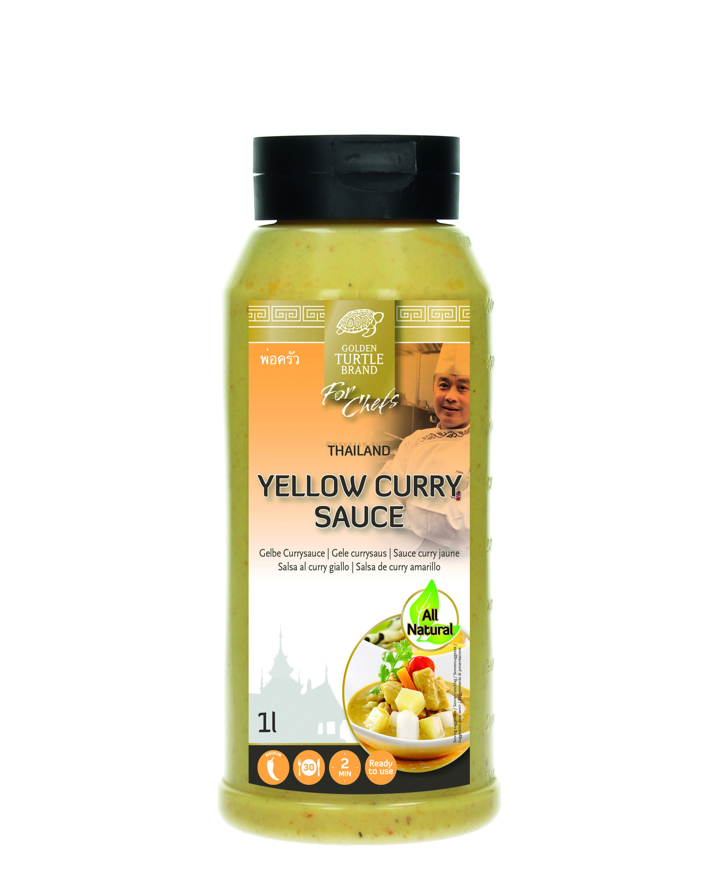Thai Yellow Curry Sauce 1L Golden Turtle Brand