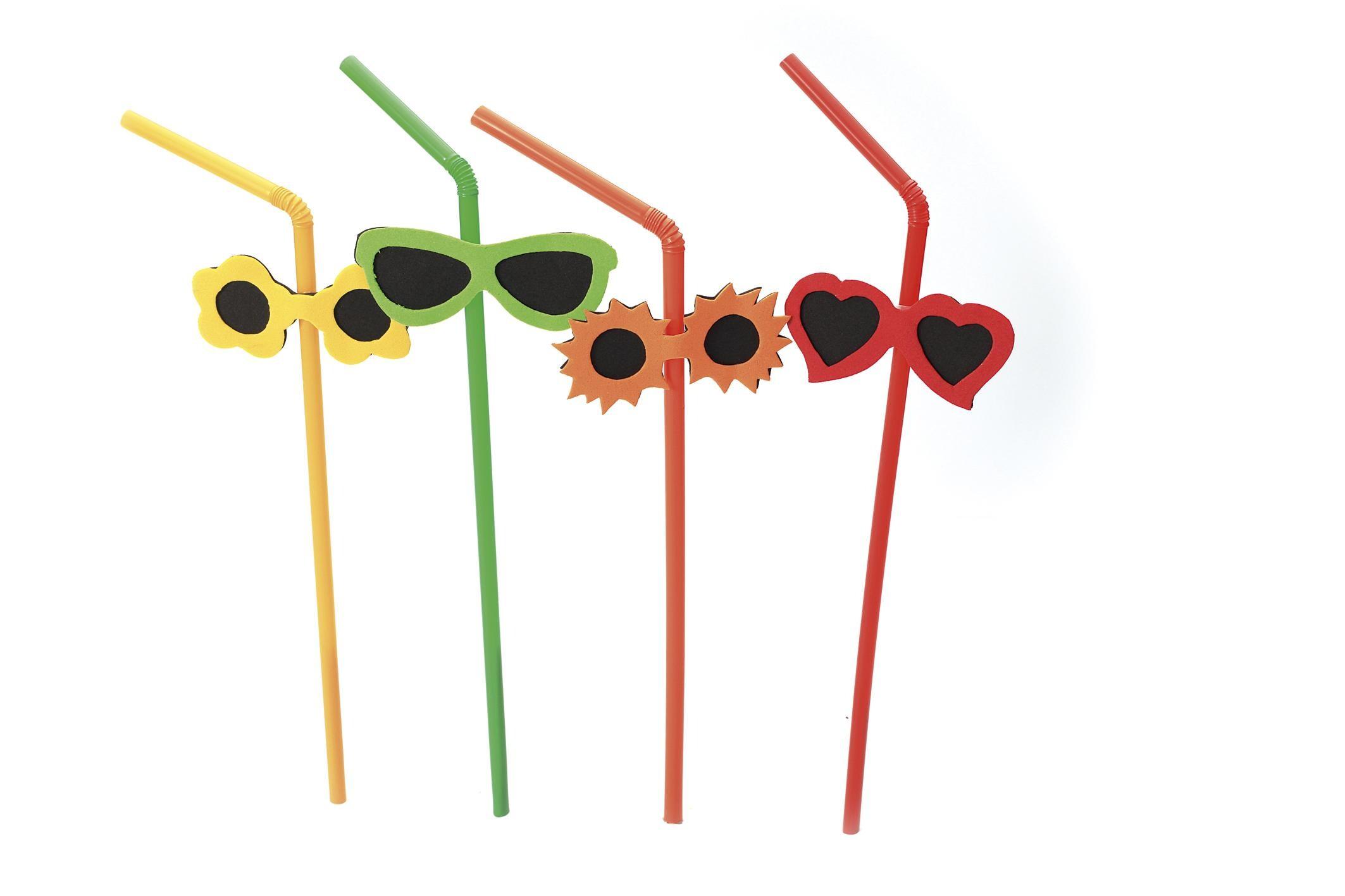 Flexible Straw with Sunn Glasses 5mm 24cm 100pcs 24008 Sier Disposables