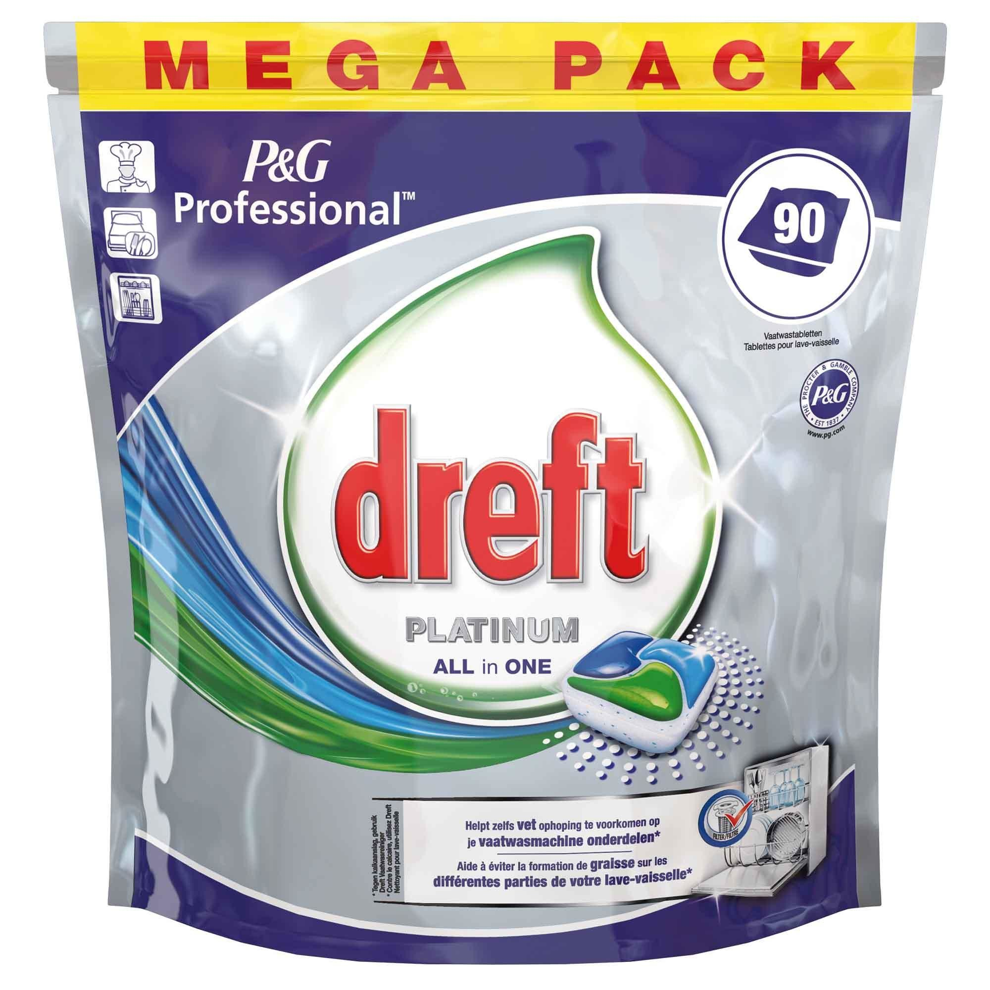 Dreft Platinum Caps Dishwasher Tablets 90pcs P&G Professional