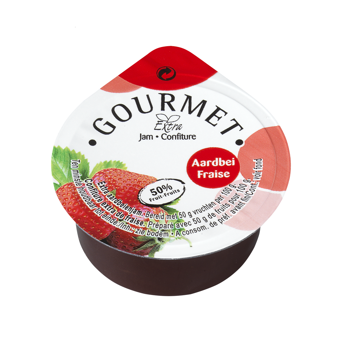 Individual Strawberry jam portions 50%fruit cups 100x25gr Gourmet