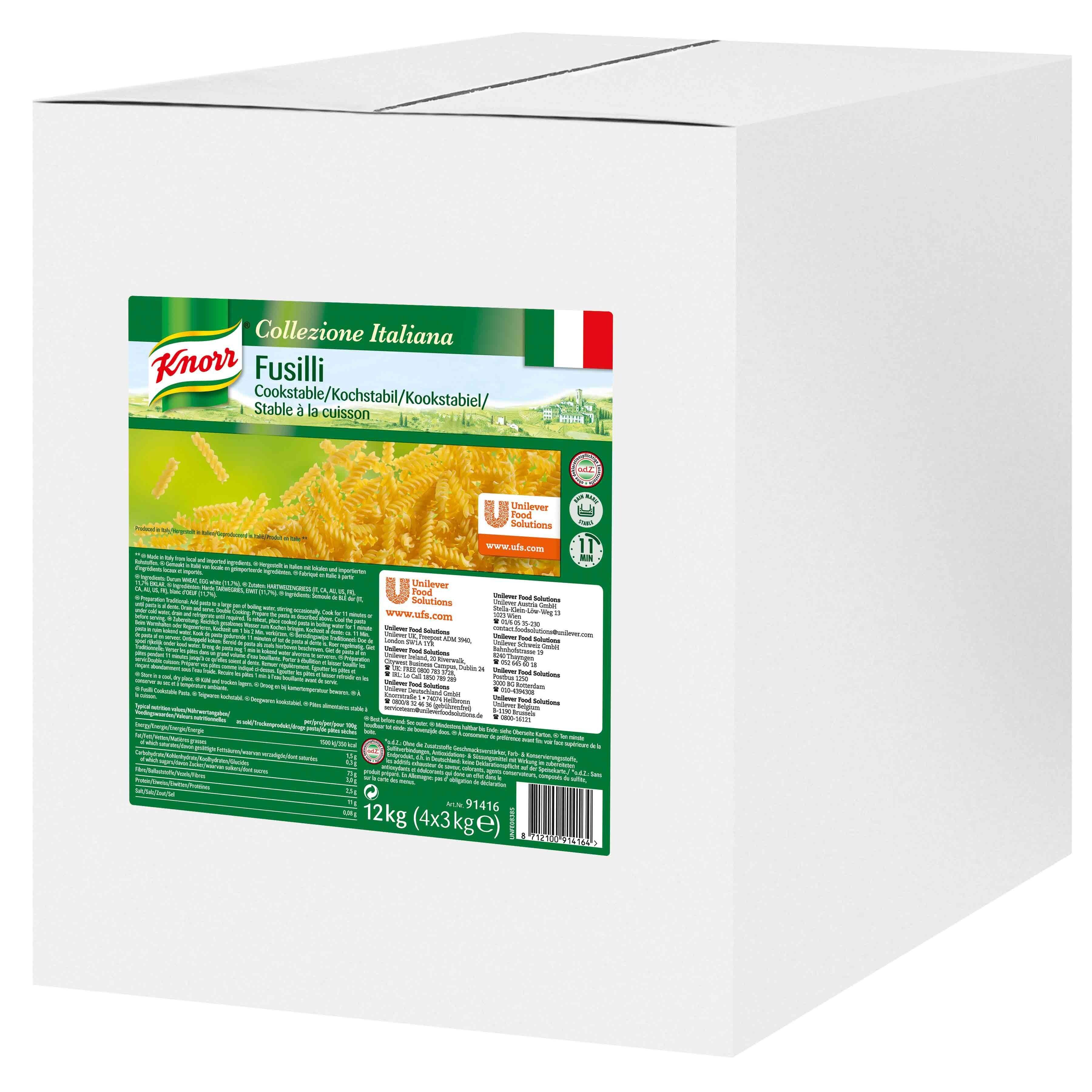 Knorr Fusilli 12kg Collezione Italiana Cooking Stable Pasta