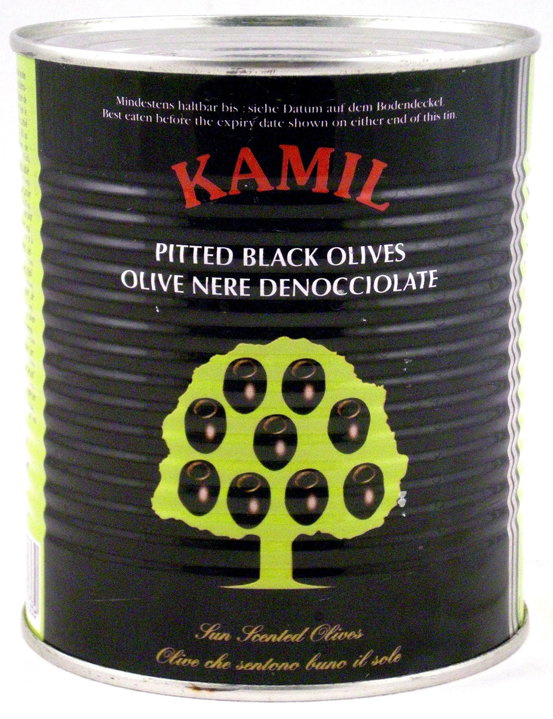 Pitted black olives in brine 1Lbs 30/33 canned