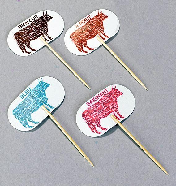 Steakmarker Bien Cuit 9cm Bamboe 100pcs Sier Disposables
