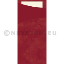 Duni Sacchetto bordeaux 200x85 + Tissue Napkin Buttermilk 100pcs