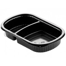 Duni Meal Box 2 compartments 500ml/250ml Black PP 240x150x40mm 50pcs