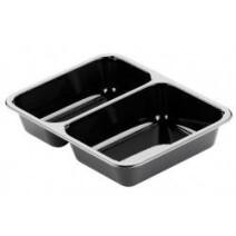 Duni CPET meal box 2 compartment 225x175x43 black 655/455ml 300pcs 115505